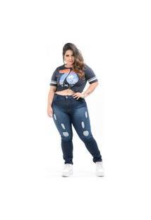 Calça Jeans Destmoda Plus Size Devorê Skinny Azul Escuro
