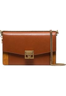 Givenchy Brown Gv3 Mini Leather And Suede Shoulder Bag - Marrom
