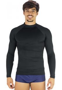 Camisa Mvb Modas Térmica Masculina Segunda Pele Proteção Uv 50 Preto