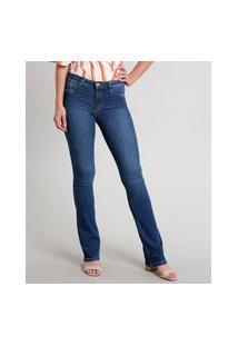 Calça Jeans Feminina Sawary Flare Pull Up Azul Escuro