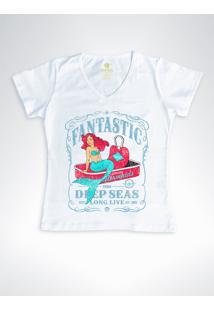 Camiseta Feminina Gola V Surf Cool Tees Sereias Em Conservas Branca