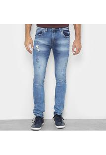Calça Jeans Slim Preston Lavada Destroyed Masculina - Masculino