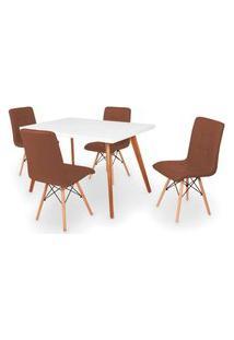 Conjunto Mesa De Jantar Gih 120X80Cm Branca Com 4 Cadeiras Gomos - Marrom