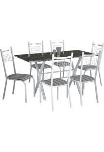 Conjunto De Mesa Miami Com 6 Cadeiras Lisboa Branco Liso E Preto Listrado