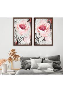 Quadro Com Moldura Chanfrada Floral Rosa Madeira Escura - Grande - Multicolorido - Dafiti