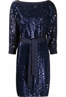 Emporio Armani Vestido Com Amarração Na Cintura E Bordado De Paetês - Azul