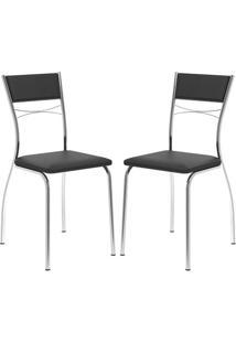 Cadeira 1701 Cromada 02 Unidades Preta Carraro