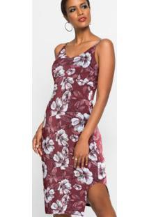 Vestido De Alcinhas Estampado Floral Bordô