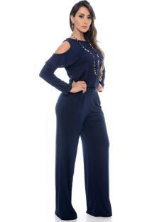 Macacão Pantalona B Bonnie Ombro Vazado Manga Longa Clara Azul Marinho - Kanui