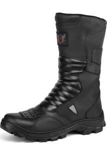 Bota Militar Em Couro Fran Boots Cano Alto Sapatofran Preta