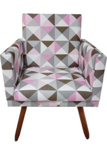 Poltrona Decorativa Nina Suede Triângulo Rosa - Ds Móveis