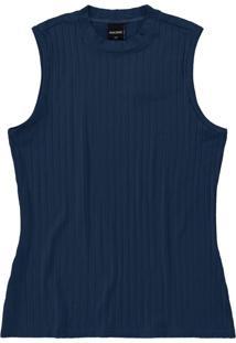 Blusa Azul Marinho Em Viscose Canelada