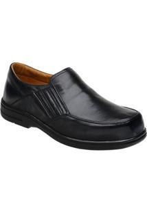 Sapato Conforto Couro Doctor Pé Masculino - Masculino-Preto