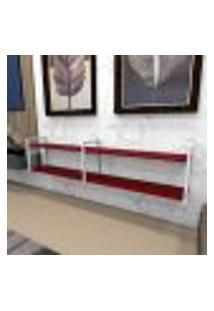 Aparador Industrial Aço Cor Branco 180X30X40Cm (C)X(L)X(A) Cor Mdf Vermelho Modelo Ind40Vrapr