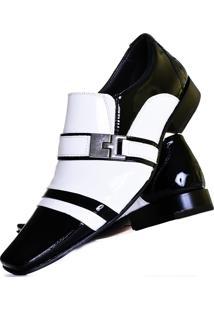 Sapato Social Gofer 10057 Branco E Preto