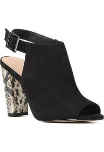 Sandal Boot Couro Shoestock Snake Salto Bloco Feminina - Feminino-Preto+Off White