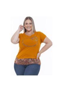 Blusa Plus Size Det. Em Tecido,Estampa Em Foil Caramelo
