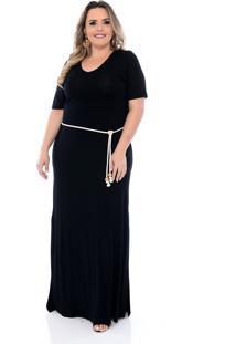 Vestido Plus Size Longo Arimath Plus Preto Com Cordão Preto