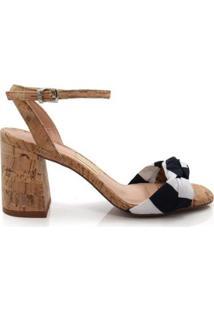 Sandália Salto Grosso Uza Shoes Feminina - Feminino-Bege