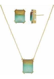 Conjunto Narcizza Semijoias Com Brinco E Colar Retângulo - Rainbow Cristal Multicollors Chocolate E Verde Ouro