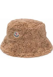 Moncler Chapéu Bucket Com Patch De Logo - Marrom