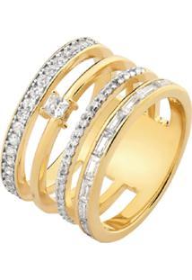Anel La Madame Co 4 Elos Cravejados Com Multi Zircônias Navetes Pontos Cravejados E Solitário Banhado A Ouro 18K