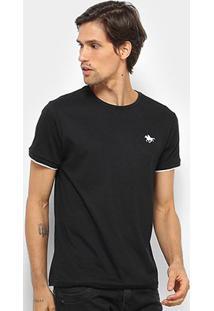 Camiseta Polo Rg 518 Friso Masculina - Masculino-Preto