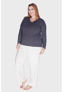 Pijama Bold Listrado Composê Plus Size 48/50 Feminino - Feminino-Preto