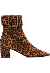 Saint Laurent Ankle Boot Animal Print - Marrom
