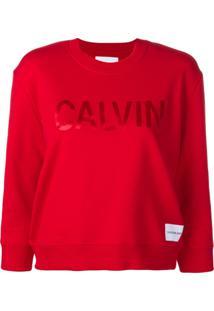 131b0778965c1 ... Calvin Klein Jeans Cropped Logo Print Sweatshirt - Vermelho
