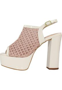 Sandália Salto Grosso Week Shoes Tela Renda Off White