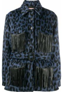 Andamane Evita Animal Print Shirt Jacket - Azul