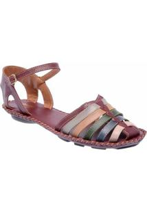 Sandália D&R Shoes Couro Feminina - Feminino-Vinho
