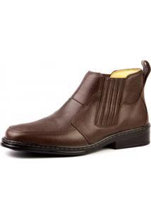 Botina Couro Doctor Shoes Magnética 915 Elástico Café