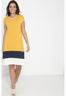 Vestido Com Recortes- Amarelo & Azul Marinho- Vittrivittri
