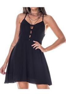 Vestido Rioutlet Curto Alça Cruzada Com Bojo - Feminino-Preto