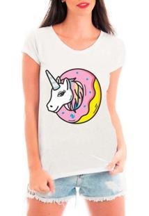 Camiseta Bata Criativa Urbana Unicórnio E Donuts - Feminino