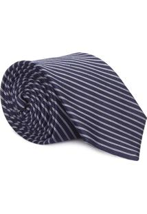 Gravata Slim Navy Double Stripe - Azul