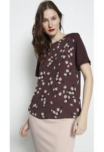 Blusa Com Recorte Posterior- Marrom Escuro & Rosa Claro