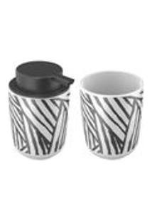 Kit Banheiro Em Ceramica Safari 2 Pecas 2 Pecas Artex - 2 Pecas - Branco / Preto
