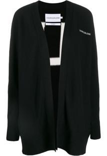 Calvin Klein Jeans Cardigan De Tricô Com Logo - Preto