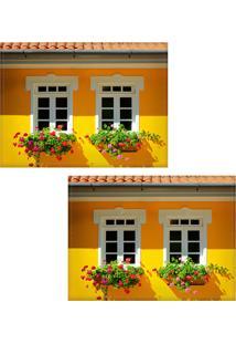 Jogo Americano Colours Creative Photo Decor - Janelas Com Flores - 2 Peças