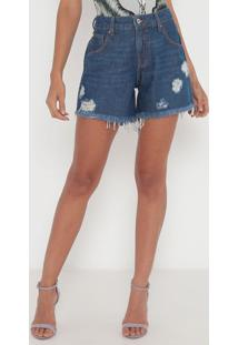 Bermuda Jeans Destroyed- Azul Escuro- Sommersommer