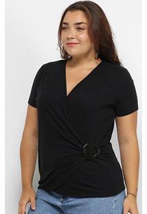 Blusa Plus Size Lecimar Transpassada Feminina - Feminino
