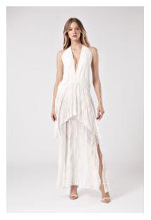Vestido Camadas Longo Chiffon Bordado Off White