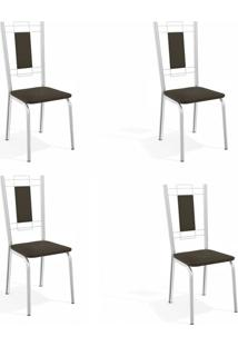 Conjunto Com 4 Cadeiras De Cozinha Florença Cromado E Marrom