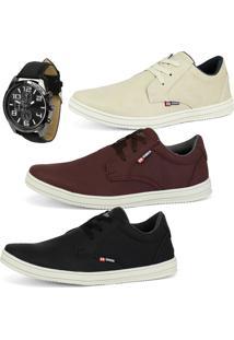 Kit Com 3 Sapatenis Cr Shoes Casuais Sintético Com Relógio Areia/Bordo/Preto
