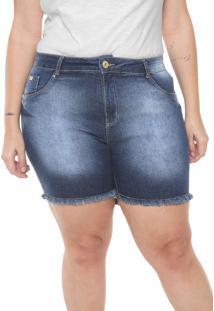 Short Jeans Plus Size Da Mix Jeans Azul - Azul - Feminino - Dafiti