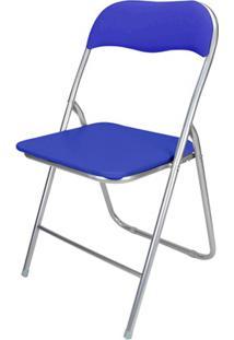 Cadeira Em Aço Dobrável 44X90Cm Azul