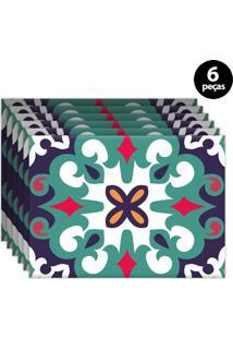Kit 6Pçs Jogo Americano Mdecor Abstrato 40X28Cm Verde